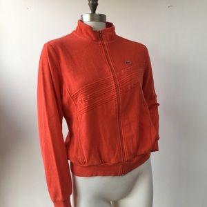 Orange Terry Zip Front Lacoste Lightweight Jacket